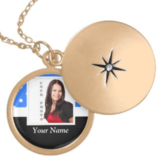 Blue polka dot photo template gold plated necklace