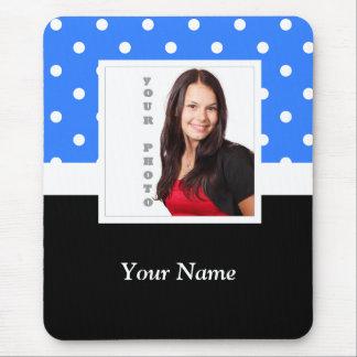 Blue polka dot photo template mouse pad