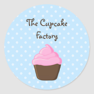 Blue Polka Dot Pink and Brown Cupcake Round Sticker