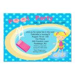 Blue Polka Dot Pool Party Girls Birthday Invite