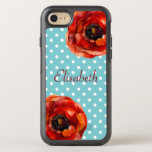Blue Polka Dot, Red Poppies, Floral, Personalized Otterbox Symmetry Iphone 7 Case at Zazzle