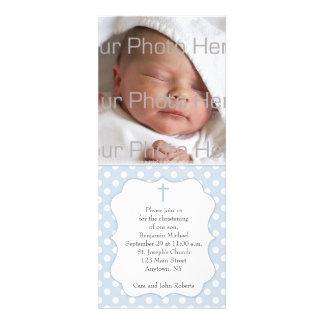Blue Polka Dot Religious Photo Card Custom Announcement