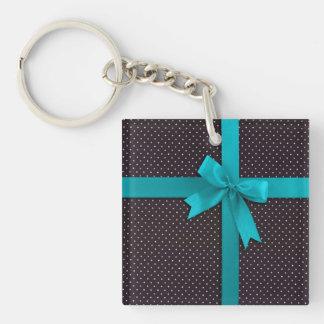 Blue Polka Dot Ribbon Keychain