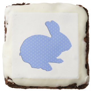 Blue Polka Dot Silhouette Easter Bunny Brownies