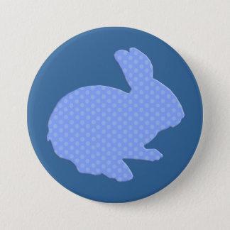 Blue Polka Dot Silhouette Easter Bunny Button