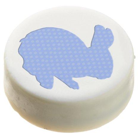 Blue Polka Dot Silhouette Easter Bunny Oreo Cookie