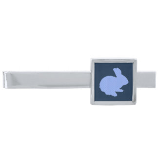 Blue Polka Dot Silhouette Easter Bunny Tie Bar