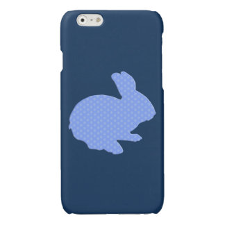 Blue Polka Dot Silhouette Rabbit iPhone 6 Case Glossy iPhone 6 Case
