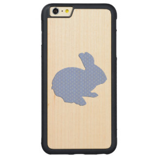 Blue Polka Dot Silhouette Rabbit iPhone 6 Case Carved® Maple iPhone 6 Plus Bumper Case