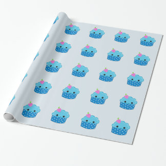 Blue Polka Dot Smiley Cupcakes Wrapping Paper