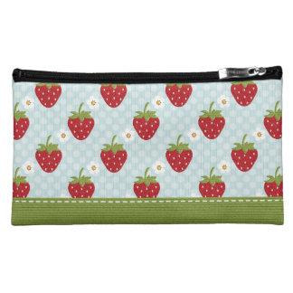 Blue Polka Dot Strawberry Cowhide Cosmetic Bag