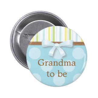 "Blue Polka Dot Stripes - ""Grandma to Be"" Pin"