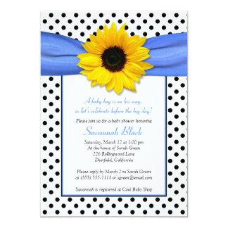 Blue Polka Dot Sunflower Boy Baby Shower 5x7 Paper Invitation Card