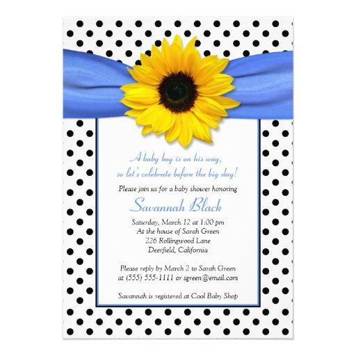 blue polka dot sunflower boy baby shower invite zazzle