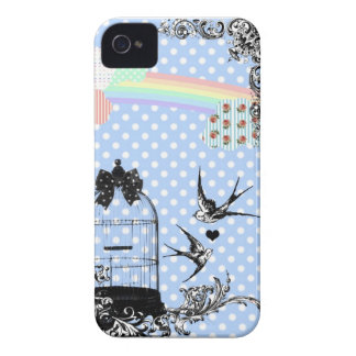 Blue Polka Dot Swallow iPhone 4/4S Case