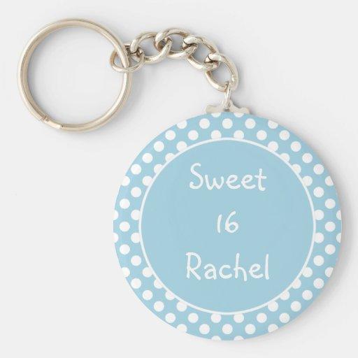Blue Polka Dot Sweet 16 Keychain