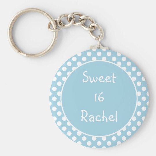 Blue Polka Dot Sweet 16 Keychain
