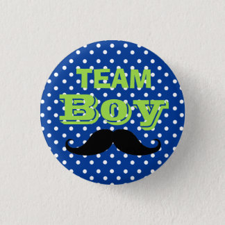 Blue Polka Dot Team Boy Baby Shower Pinback Button