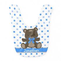 Blue Polka Dot Teddy Bear Personalized Baby Bib