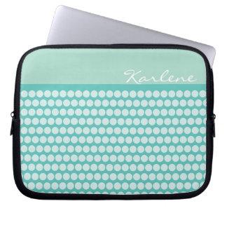 Blue polka dot template pattern laptop sleeve
