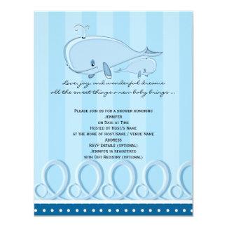 Blue Polka Dot Whale Baby Shower Invitation