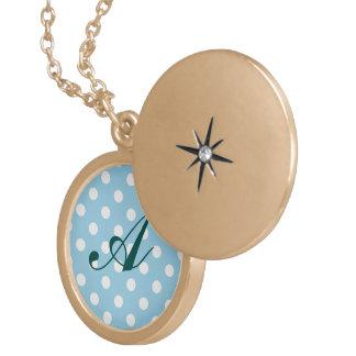 blue ,polka dot,white,cute,girly,trendy,fun,modern locket