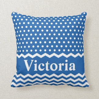 Blue Polka Dots and Chevrons Throw Pillow