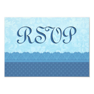 "Blue Polka Dots and Lace Custom Wedding Product 3.5"" X 5"" Invitation Card"