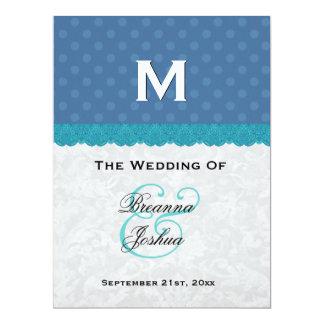 "Blue Polka Dots and Lace Custom Wedding Product 6.5"" X 8.75"" Invitation Card"