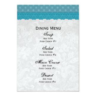 "Blue Polka Dots and Lace Wedding Menu V4 5"" X 7"" Invitation Card"
