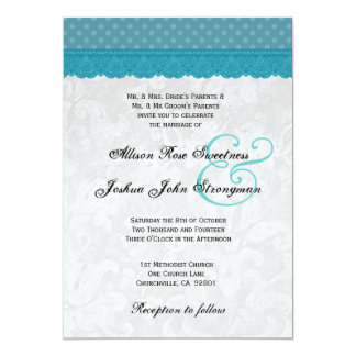 Blue Polka Dots and Lace Wedding V001 Card