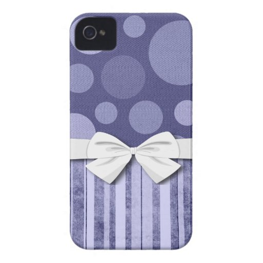 blue polka dots and stripes patterns with faux bow iPhone 4 case