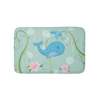 Blue Polka Dots Baby Whale Bath Mat