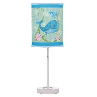 Blue Polka Dots Baby Whale Desk Lamp