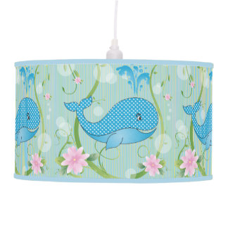 Blue Polka Dots Baby Whale Hanging Lamp