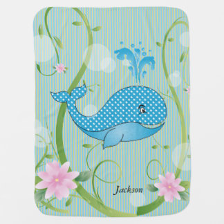 Blue Polka Dots Baby Whale Swaddle Blanket