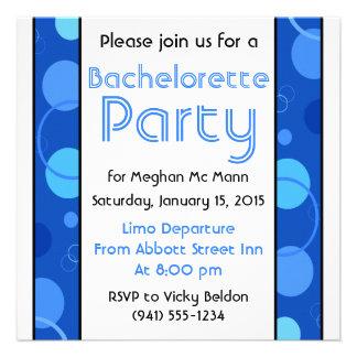Blue Polka Dots Bachelorette Party Invitation