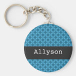Blue Polka Dots Background Personalize Key Chain