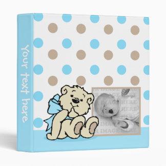Blue Polka Dots Bear Baby Book 3 Ring Binder