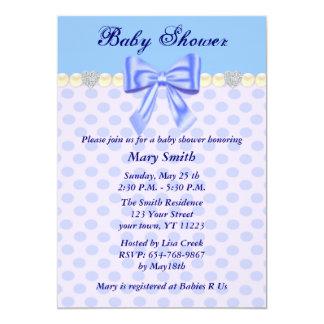 "Blue Polka Dots Bow Baby Shower Invitation 5"" X 7"" Invitation Card"