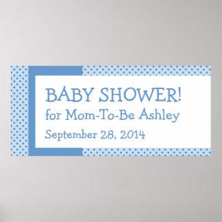Blue Polka Dots Boy Baby  Shower Custom Banner Posters