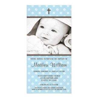 Blue Polka Dots Brown Cross Baptism Photo Card