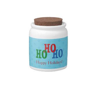 Blue Polka Dots Custom Candy Jar Christmas Gift