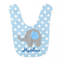 Blue Polka Dots Elephant Baby Bib