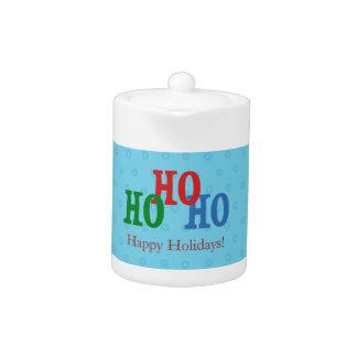 Blue Polka Dots Happy Holidays Christmas Jar