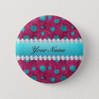 Blue Polka Dots Hot Pink Faux Diamonds Button