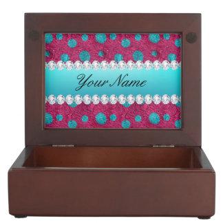 Blue Polka Dots Hot Pink Faux Diamonds Memory Box