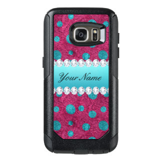 Blue Polka Dots Hot Pink Faux Diamonds OtterBox Samsung Galaxy S7 Case