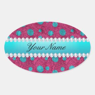 Blue Polka Dots Hot Pink Faux Diamonds Oval Sticker