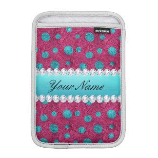 Blue Polka Dots Hot Pink Faux Diamonds Sleeve For iPad Mini